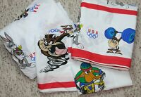Vintage Looney Tunes Olympics Full Sheet Set 4 Pc Bugs Bunny Taz Daffy Sports US
