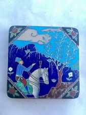 French Art Deco Sterling Enameled Marcasite Compact Persian Blue 1920's