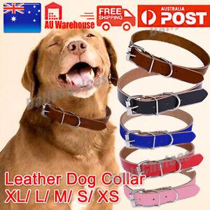 Quality Leather Dog Pet Puppy Cat Collar Neck Buckle Neck Strap Adjustable AU