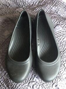 Crocs Plain Black Flats / Ballerina / Work Shoes UK Size 6