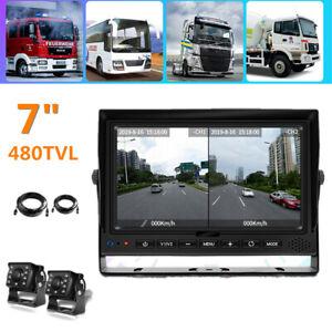 """Digital 7"""" Monitor Backup Camera Reversing HD Split Monitor Record DVR Truck RV"""