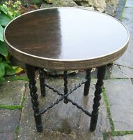 ANTIQUE   BARLEY TWIST  SIDE TABLE WITH BRASS EDGED TOP