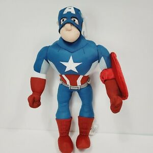 "Captain America Marvel Avengers Large Plush Stuffed Action Figure w/ Shield 14"""