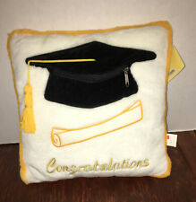 NWT Graduation White w/ Gold CONGRATULATIONS PLUSH PILLOW w/ Zipper Gift Pocket