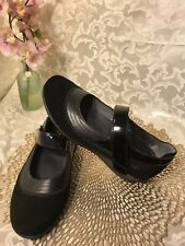 Drew Womens Genoa Mary Jane Black Leather Suede Comfort Shoes Size 7.5 WIDE NEW