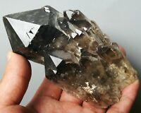 Natural Rare Beautiful Black QUARTZ Crystal Cluster Mineral Specimen