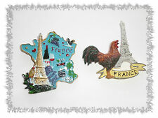 Lot de 2 Aimants Magnets Carte de France Coq Tour Effeil  Résine Neufs