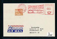 94690) AFS meter 5PF Frankfurt 1954 KLM Winterflugplan + Mke 4PF Label d'blau