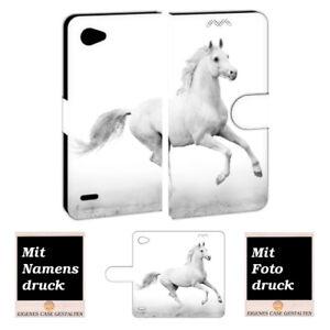 LG Q6 Schutzhülle Handy Tasche Hülle mit Pferd + Bild Druck Etui