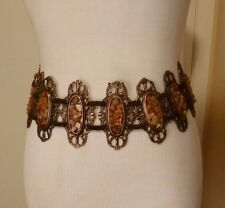 Brown Suede Leather Tan Stones with Bronze Metal Tie Back Belt Size L