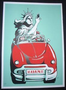 LADY LIBERTY SELFIE IN HAVANA / Cuban Screenprint Poster Salutes U.S. CUBA Ties