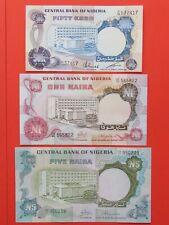 NIGERIA ( 1973 MINT GEM ) 50 KOBO ,1 & 5 NAIRA VERY RARE BANK NOTES,MINT GEM UNC