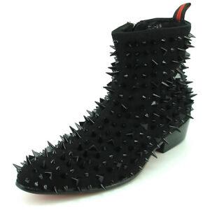 FI-7316-S Black Suede Spikes Fiesso by Aurelio Garcia Boot with Side Zipper