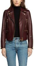$1,295 NWT ❤️ RAG & BONE Burgundy Arrow Zip Biker Moto Leather Jacket SZ 2