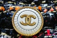 One Stamped Chanel button 1 pieces   metal cc logo 0,9 inch 23 mm