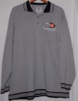 Nascar Racing Mens LS Gray Black Striped Collar Sweatshirt Polo Shirt XL