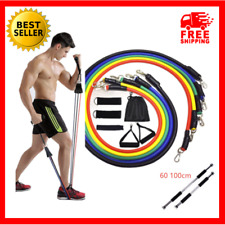 11PCS Resistance Bands Set With Handles Exercise Gym Home Fitness Yoga Pilates