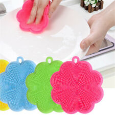 1Pc Home Kitchen Silicone Scrubber Brush Mat Dish Cleaning Tool Random Color