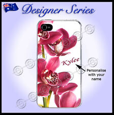 For iPhone 4 / 4S case Personalised cover Orchid Pretty Pink Red Flower 65