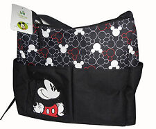 Disney Mickey Mouse Baby Diaper Bag Nappy Bottle Black Tote NEW