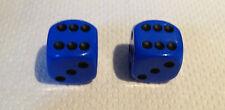 2 Blue Black Pips Spots Dice Dust Valve Caps Retro 80's Hotrod VW