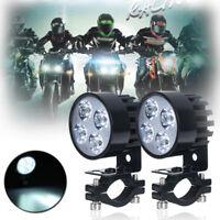 2x 4 LED Universal Motorcycle Motorbike Front Headlight Fog Spot Light Lamp Bulb