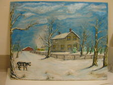 Country OIl Painting signed house barn cow fire on the barn