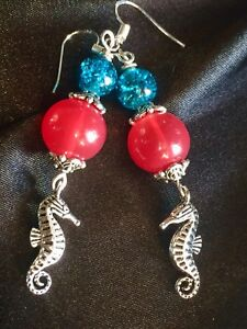 Tibetan Silver 2-Sided Seahorse Earrings With Jade Style Beads
