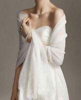 2019 White Chiffon Bridal Wrap Wedding Shawl Scarf Cover Up Long Shrug Stole