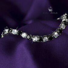 18k white gold gf made with SWAROVSKI crystal clear black beaded chain bracelet