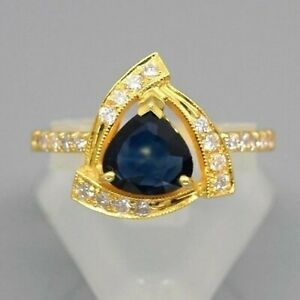 1.07ct Natural Medium Blue Unheated Sapphire Ring With Diamond 18K Solid Gold