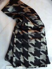 Paul Smith Men's Mainline Black Silk Scarf - Split Scale Houndstooth Design