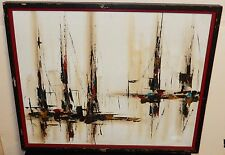 SUE MID-CENTURY SAIL BOATS SEASCAPE OIL ON CANVAS PAINTING