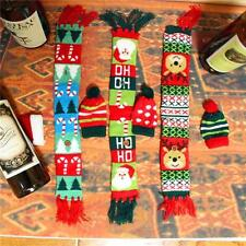 Christmas Wine Bottle Clothing Santa Claus Hat Scarf Cover Set Decoration FI