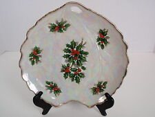 Vintage Luster Ware Christmas Holiday Serving Plate Holly Berries Gold Edge Leaf