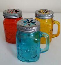 3 x Vintage look Handled Colored Drinking Glass Jar Mug Lid Straw Juice milkshak