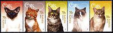 Australia 2015 Cats Strip of five stamps gummed, MUH