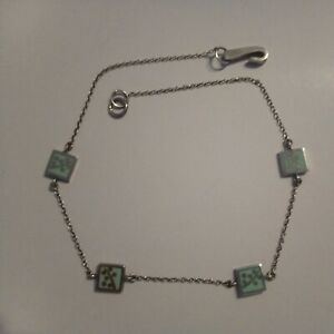 Sterling silver and green enamel necklace: choker, rare, designer, beautiful