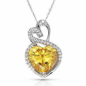 4.20 Carat Halo Citrine Double Heart Gemstone Pendant & Necklace14K White Gold