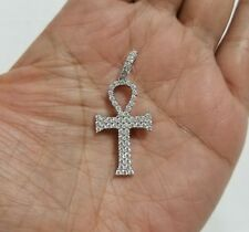 925 Sterling Silver Chain Necklace Round Diamond Stones Cross Charm Pendant