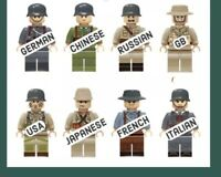 Army Minifigures Set MiniFigures Japan France Italian GB US Soldiers Minifigs