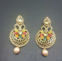 New Bollywood Elegant Indian Earrings Multi colours (mendi function) jewellery