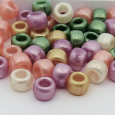 100 Warm Pearl Pony Beads Pink Gold Cream Green Peach Loom Band Dummy Clips Hair