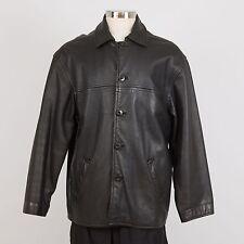 Men's Heavy Leather Car Coat Jacket L Large Black TREK
