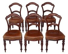 Antique set of 6 Victorian C1880 walnut leather balloon back dining chairs