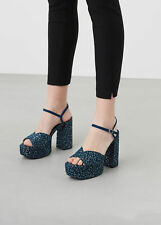 MANGO Woman BNWT Blue Animal Print Platform Sandals EU 39/UK 6/US 8 Ref.73090133