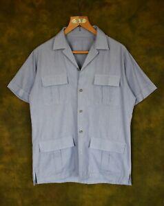 Brilliant Vintage St Michaels Blue Cotton Resort Safari Style Shirt Size 38