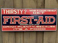 VINTAGE FIRST AID SODA POP EMBOSSED SIGN ORANGE DRINK PORCELAIN GAS STATION PUMP