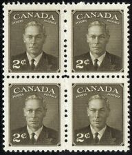 1949 CANADA KING GEORGE VI 2¢ STAMP BLOCK, MINT NEVER HINGED MNH, Scott #285