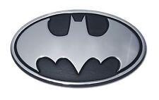 Batman Chrome Metal Auto Emblem (Black and Chrome Oval) DC Comics Licensed
